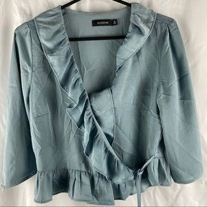 Glassons Light Blue Mid Sleeve Crop Top Size 8